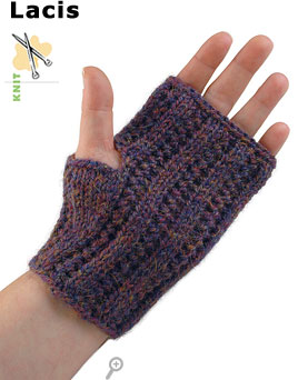 Lacis, lace gauntlet, knit in Ultra&reg;Alpaca