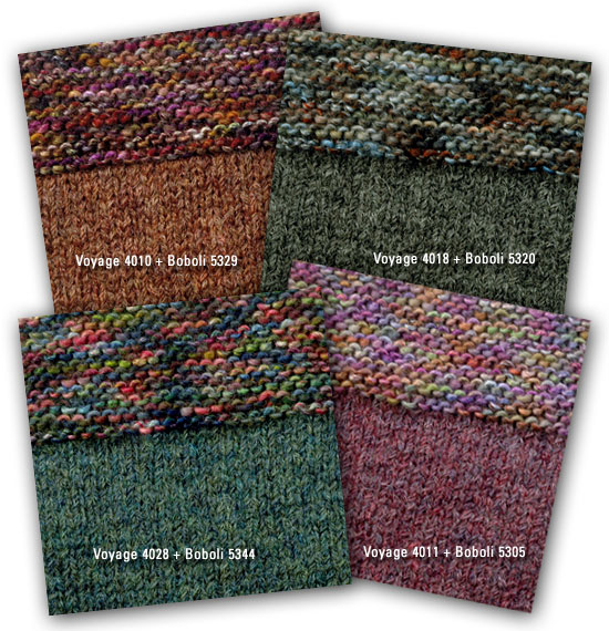Freddo, alternate colorways, knit in Berroco Voyage and Berroco Boboli