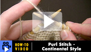 Purl Stitch, Continental Style - Video